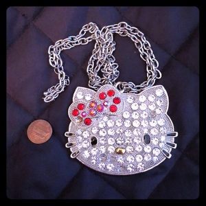 Big bling hello kitty necklace